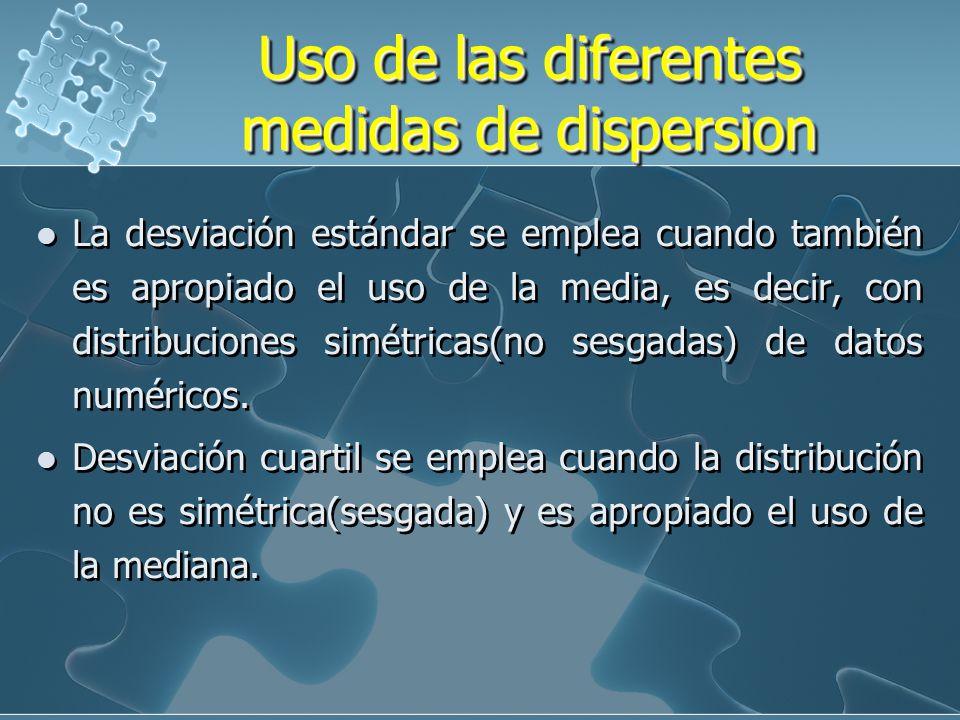 ConsideracionesConsideraciones SI: C.V 10% hay poca dispersión 10% C.V < 33% Dispersión aceptable 33% < C.V < 50% Dispersión alta C.V > 50% La dispers