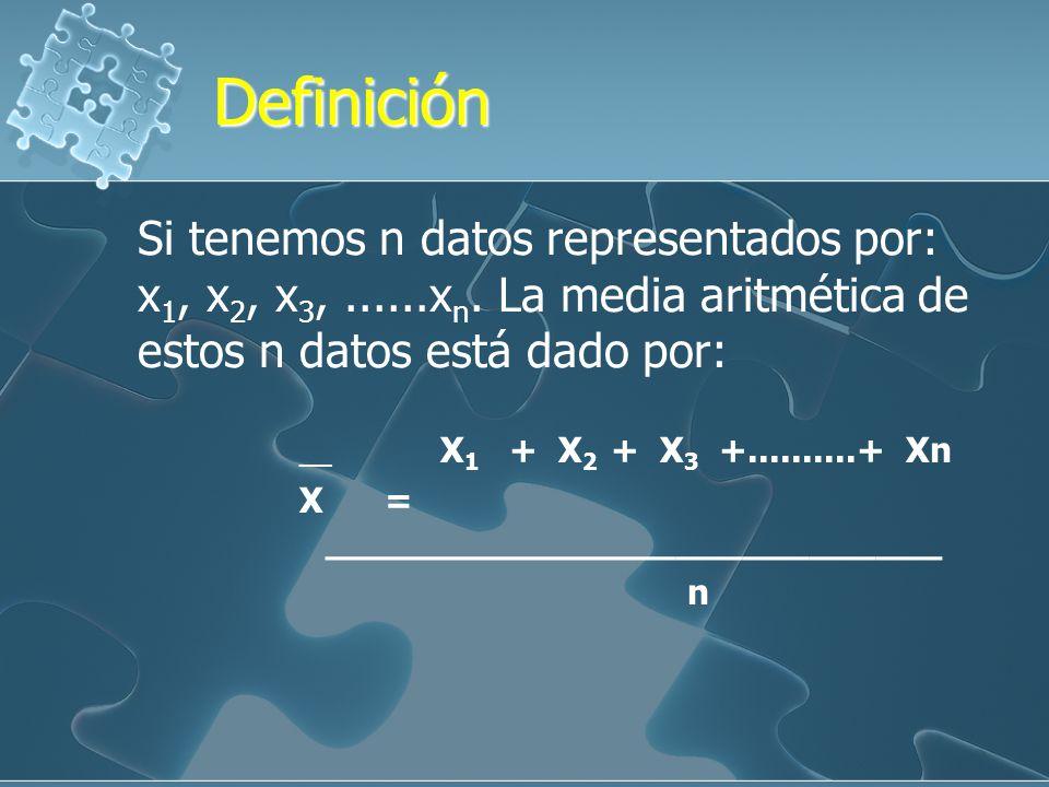 Definición Definición Si tenemos n datos representados por: x 1, x 2, x 3,......x n.