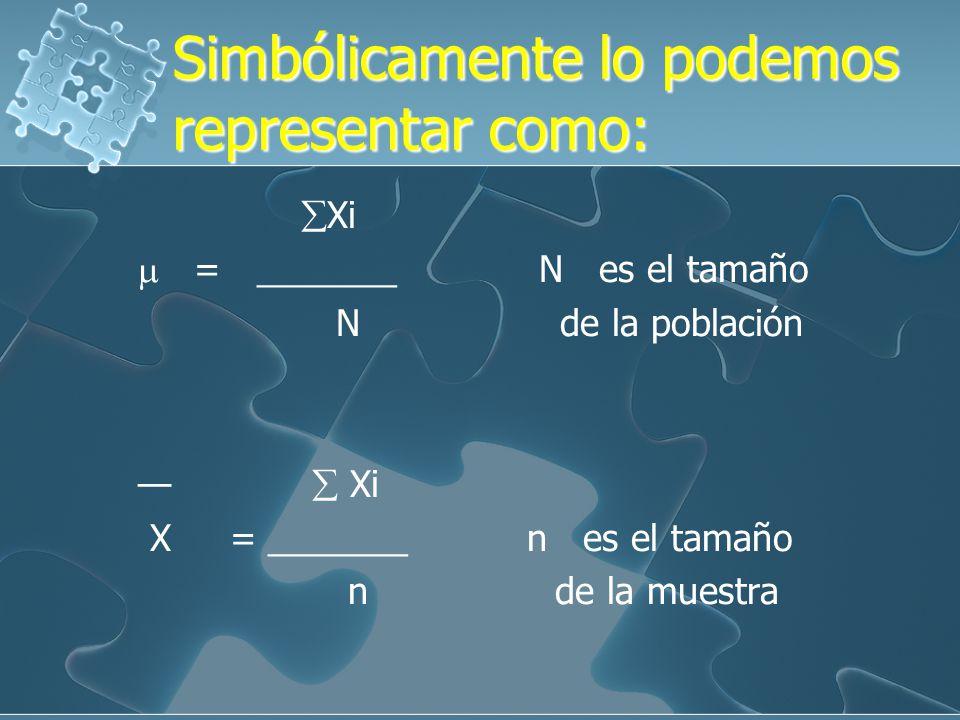 Simbólicamente lo podemos representar como: Xi = _______ N es el tamaño N de la población Xi X = _______ n es el tamaño n de la muestra Xi = _______ N es el tamaño N de la población Xi X = _______ n es el tamaño n de la muestra