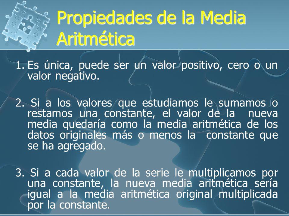 Propiedades de la Media Aritmética Propiedades de la Media Aritmética 1.Es única, puede ser un valor positivo, cero o un valor negativo.