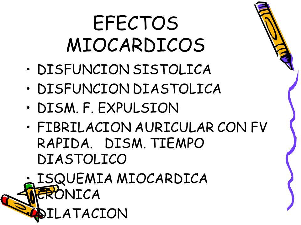 EFECTOS MIOCARDICOS DISFUNCION SISTOLICA DISFUNCION DIASTOLICA DISM. F. EXPULSION FIBRILACION AURICULAR CON FV RAPIDA. DISM. TIEMPO DIASTOLICO ISQUEMI