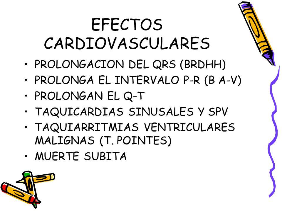 EFECTOS CARDIOVASCULARES PROLONGACION DEL QRS (BRDHH) PROLONGA EL INTERVALO P-R (B A-V) PROLONGAN EL Q-T TAQUICARDIAS SINUSALES Y SPV TAQUIARRITMIAS V