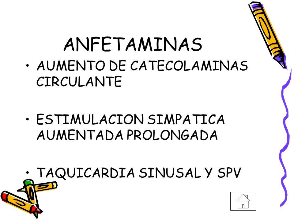 ANFETAMINAS AUMENTO DE CATECOLAMINAS CIRCULANTE ESTIMULACION SIMPATICA AUMENTADA PROLONGADA TAQUICARDIA SINUSAL Y SPV