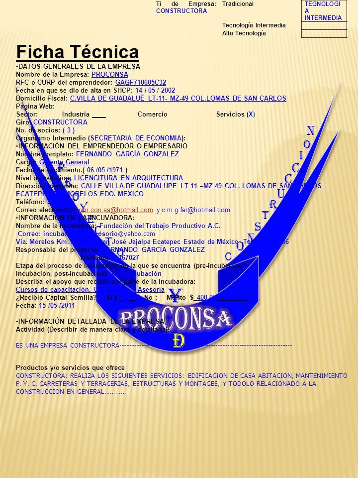 P R O Y E C T O C O N S T R U C C I O ¥ N Ð Ti de Empresa: CONSTRUCTORA TradicionalTEGNOLOGI A INTERMEDIA Tecnología Intermedia Alta Tecnología Ficha