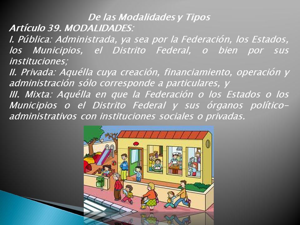 De las Modalidades y Tipos Artículo 39. MODALIDADES: I. Pública: Administrada, ya sea por la Federación, los Estados, los Municipios, el Distrito Fede