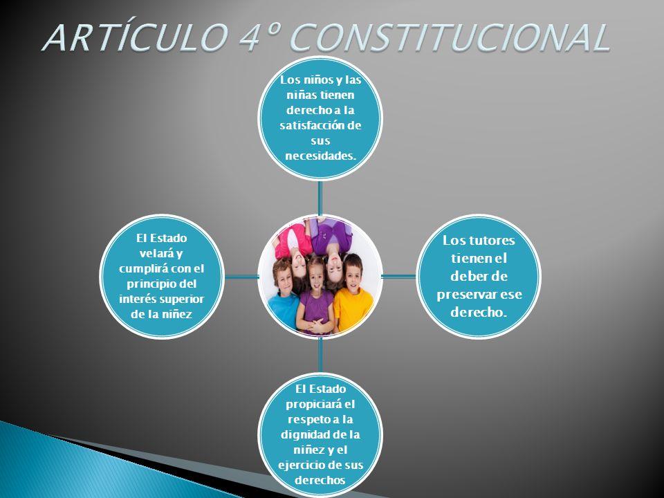 Los niños y las niñas tienen derecho a la satisfacción de sus necesidades. Los tutores tienen el deber de preservar ese derecho. El Estado propiciará