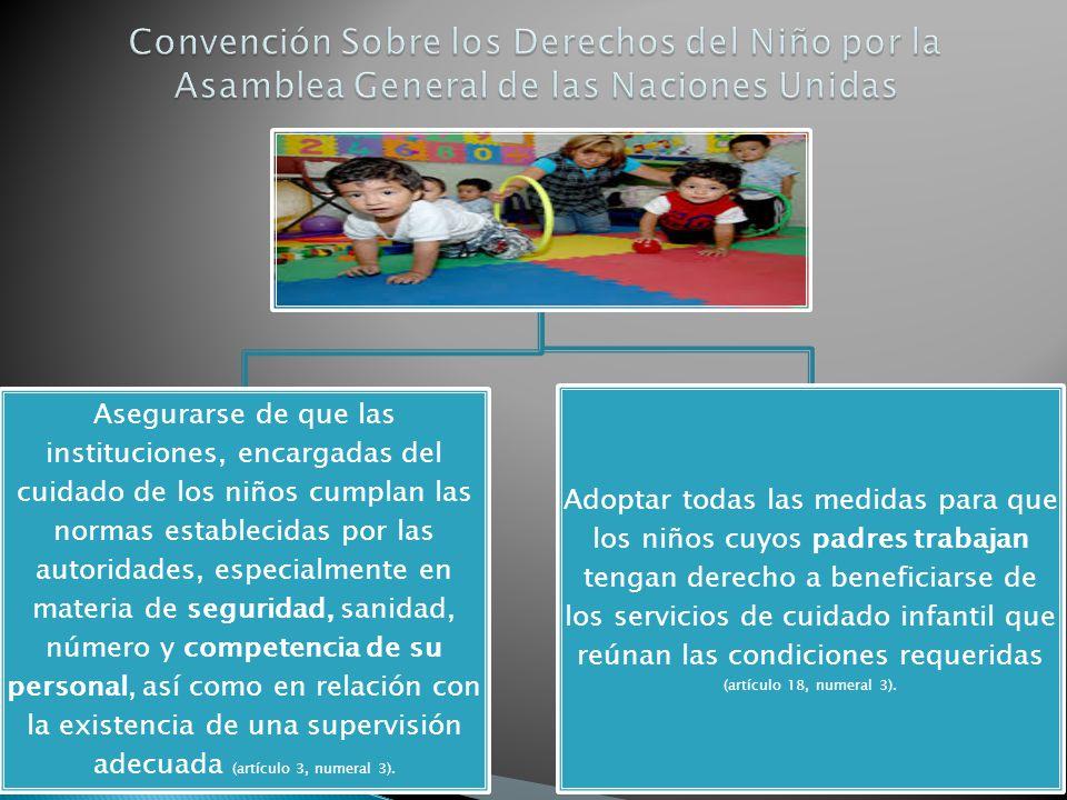 Asegurarse de que las instituciones, encargadas del cuidado de los niños cumplan las normas establecidas por las autoridades, especialmente en materia