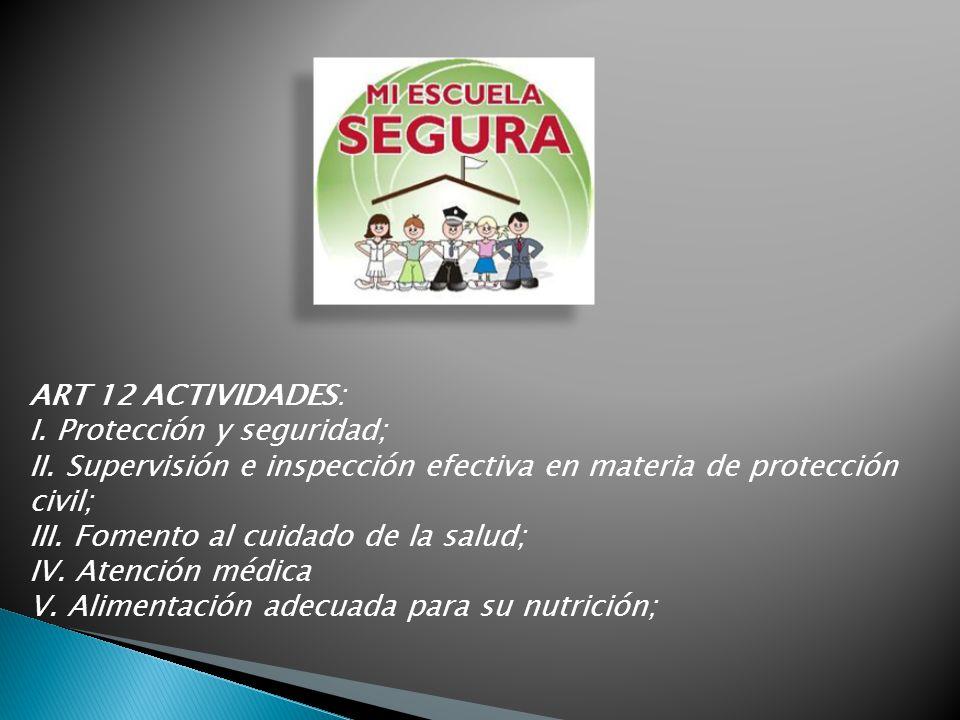 ART 12 ACTIVIDADES: I. Protección y seguridad; II. Supervisión e inspección efectiva en materia de protección civil; III. Fomento al cuidado de la sal
