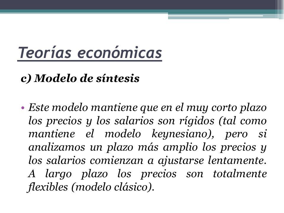 Teorías económicas c) Modelo de síntesis Este modelo mantiene que en el muy corto plazo los precios y los salarios son rígidos (tal como mantiene el m
