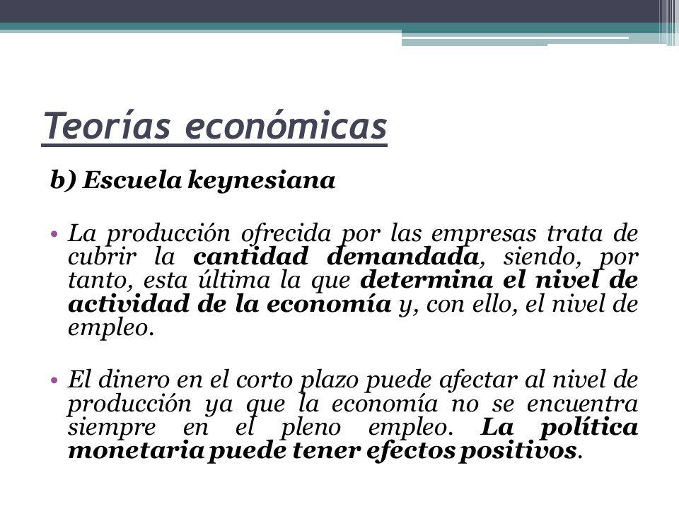 Teorías económicas b) Escuela keynesiana La producción ofrecida por las empresas trata de cubrir la cantidad demandada, siendo, por tanto, esta última