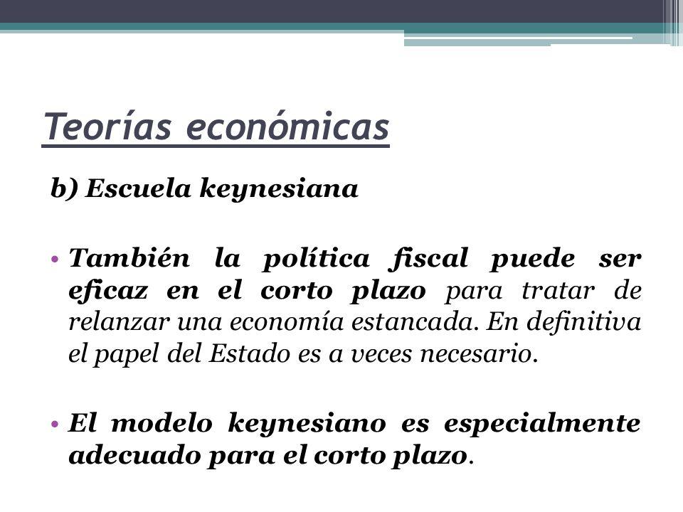 Teorías económicas c) Modelo de síntesis Esta escuela, como ya hemos comentado, permite enlazar las teorías de Keynes (centradas en el comportamiento de la economía en el corto plazo) con las de la escuela clásica (centradas en el largo plazo).