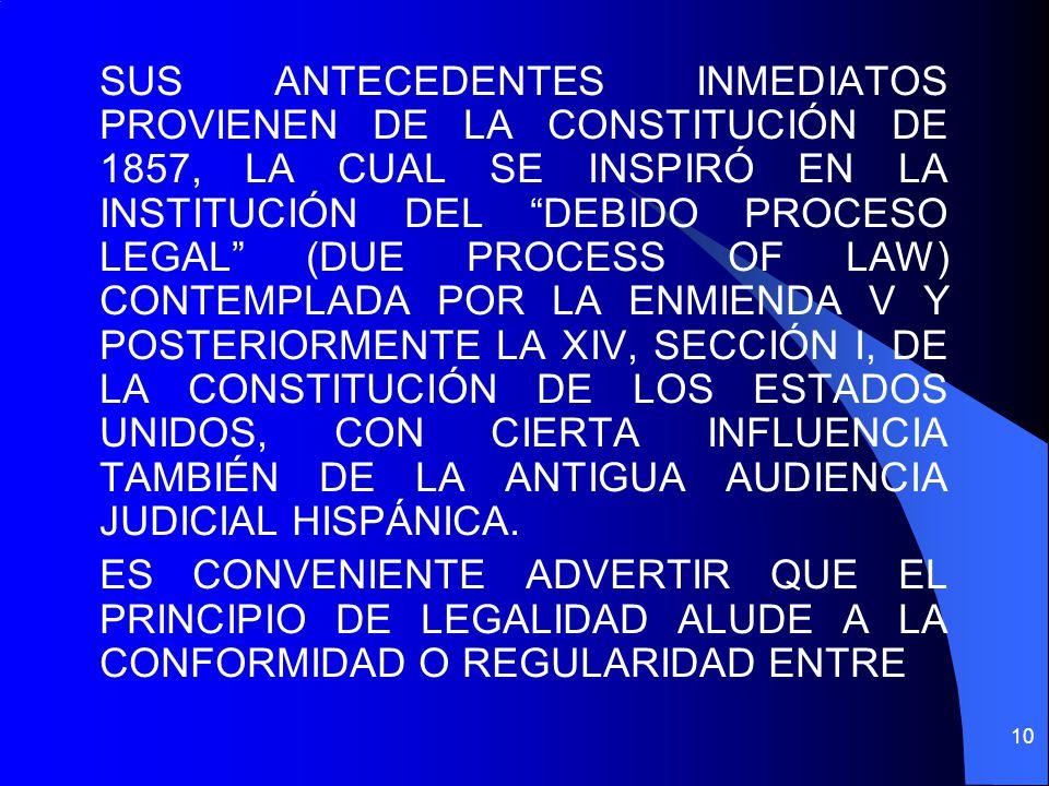 SUS ANTECEDENTES INMEDIATOS PROVIENEN DE LA CONSTITUCIÓN DE 1857, LA CUAL SE INSPIRÓ EN LA INSTITUCIÓN DEL DEBIDO PROCESO LEGAL (DUE PROCESS OF LAW) C