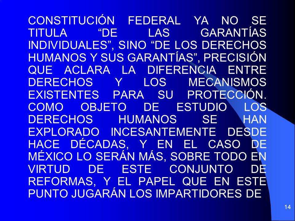 CONSTITUCIÓN FEDERAL YA NO SE TITULA DE LAS GARANTÍAS INDIVIDUALES, SINO DE LOS DERECHOS HUMANOS Y SUS GARANTÍAS, PRECISIÓN QUE ACLARA LA DIFERENCIA E