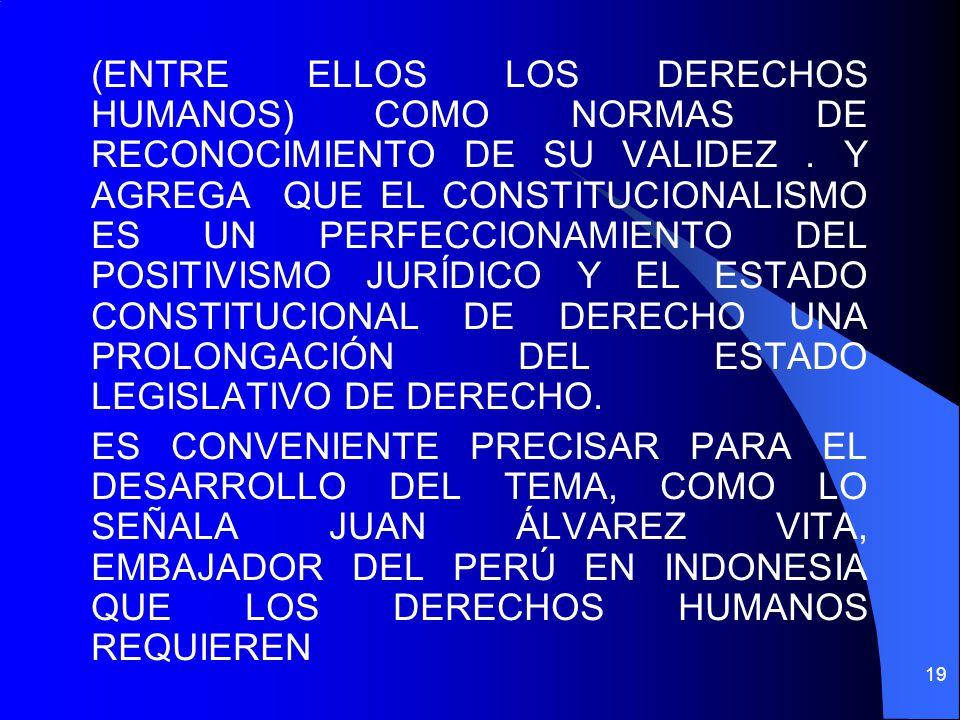 (ENTRE ELLOS LOS DERECHOS HUMANOS) COMO NORMAS DE RECONOCIMIENTO DE SU VALIDEZ. Y AGREGA QUE EL CONSTITUCIONALISMO ES UN PERFECCIONAMIENTO DEL POSITIV