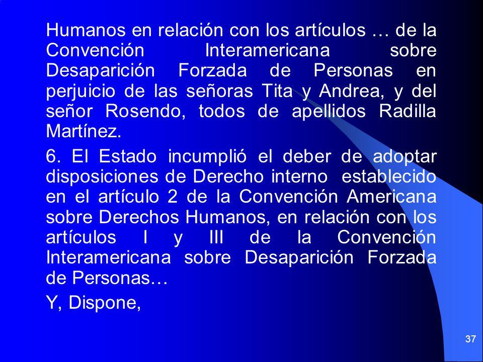 Humanos en relación con los artículos … de la Convención Interamericana sobre Desaparición Forzada de Personas en perjuicio de las señoras Tita y Andr