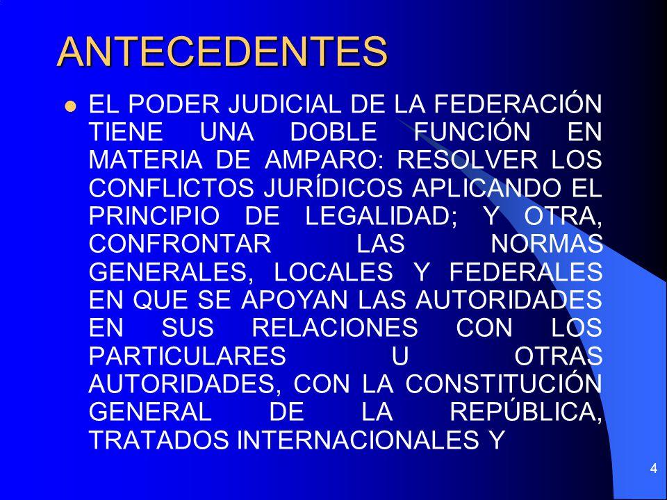 ANTECEDENTES EL PODER JUDICIAL DE LA FEDERACIÓN TIENE UNA DOBLE FUNCIÓN EN MATERIA DE AMPARO: RESOLVER LOS CONFLICTOS JURÍDICOS APLICANDO EL PRINCIPIO