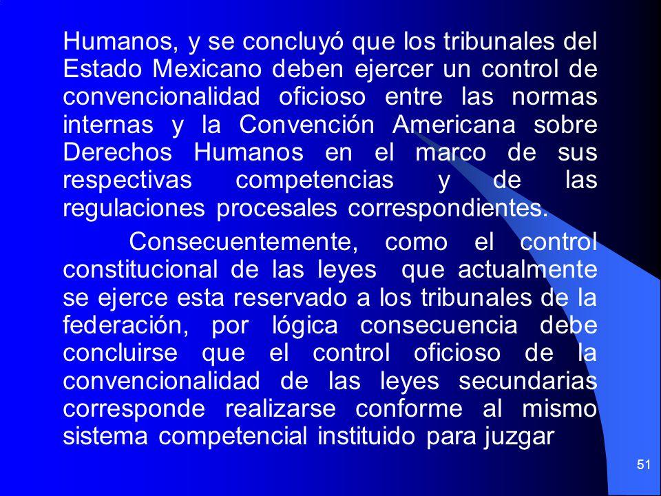 Humanos, y se concluyó que los tribunales del Estado Mexicano deben ejercer un control de convencionalidad oficioso entre las normas internas y la Con