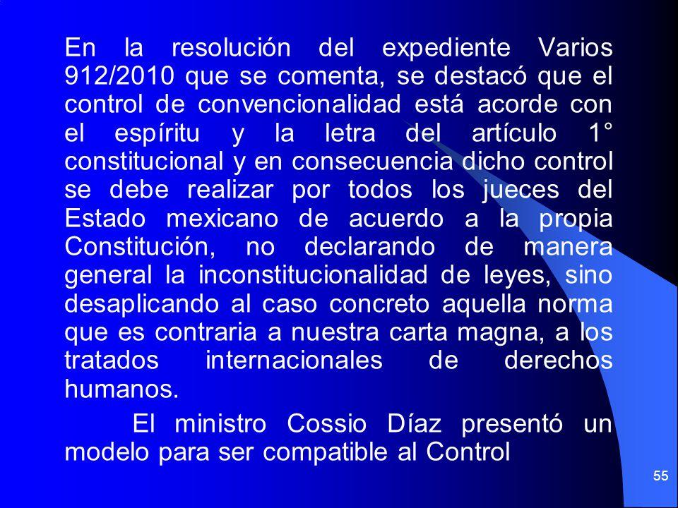 En la resolución del expediente Varios 912/2010 que se comenta, se destacó que el control de convencionalidad está acorde con el espíritu y la letra d