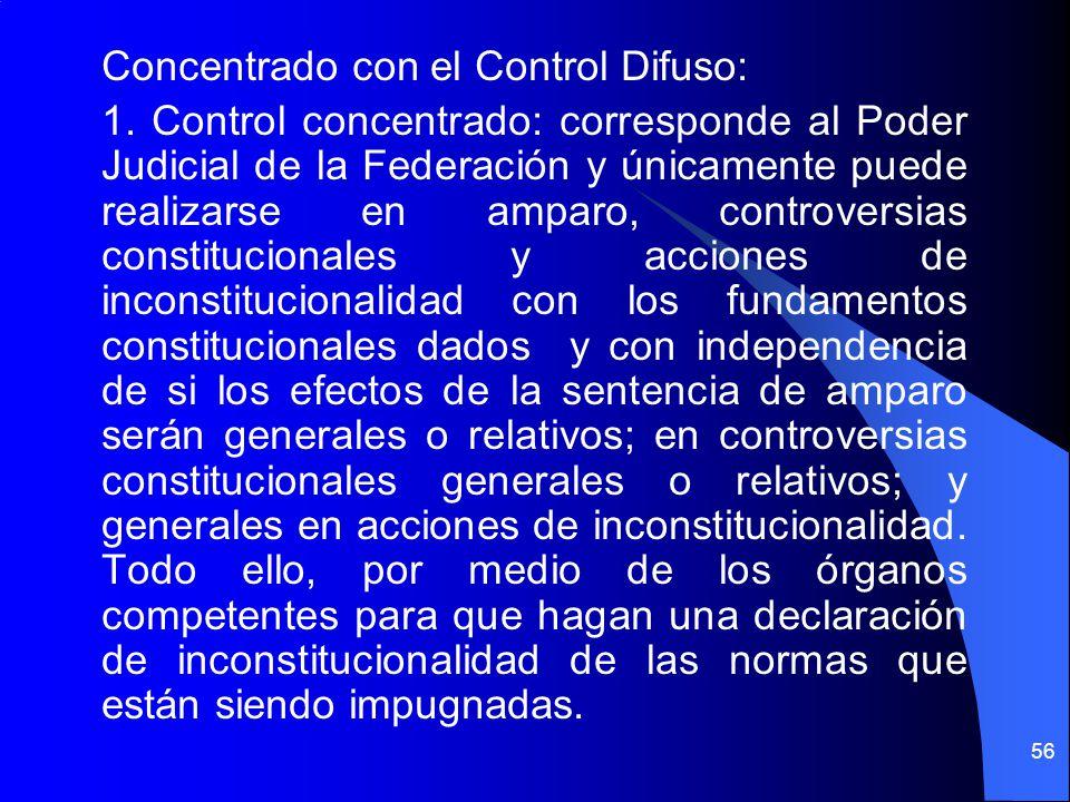 Concentrado con el Control Difuso: 1. Control concentrado: corresponde al Poder Judicial de la Federación y únicamente puede realizarse en amparo, con