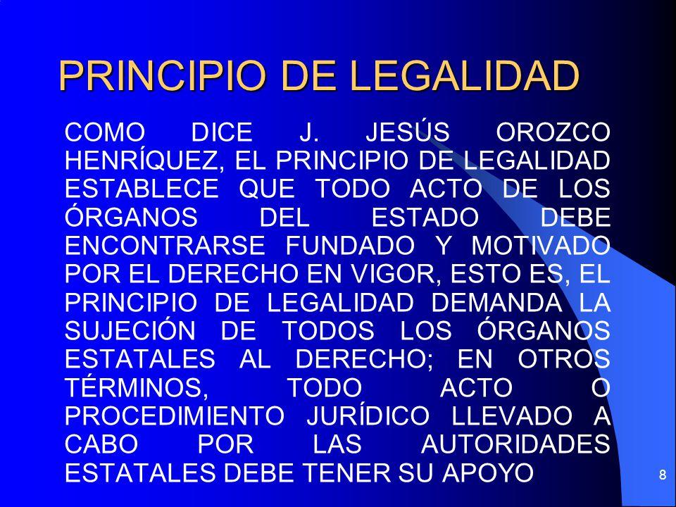 PRINCIPIO DE LEGALIDAD COMO DICE J. JESÚS OROZCO HENRÍQUEZ, EL PRINCIPIO DE LEGALIDAD ESTABLECE QUE TODO ACTO DE LOS ÓRGANOS DEL ESTADO DEBE ENCONTRAR