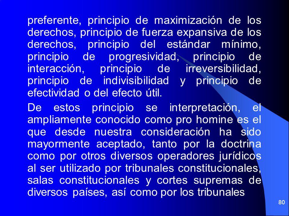 preferente, principio de maximización de los derechos, principio de fuerza expansiva de los derechos, principio del estándar mínimo, principio de prog