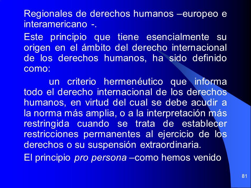 Regionales de derechos humanos –europeo e interamericano -. Este principio que tiene esencialmente su origen en el ámbito del derecho internacional de