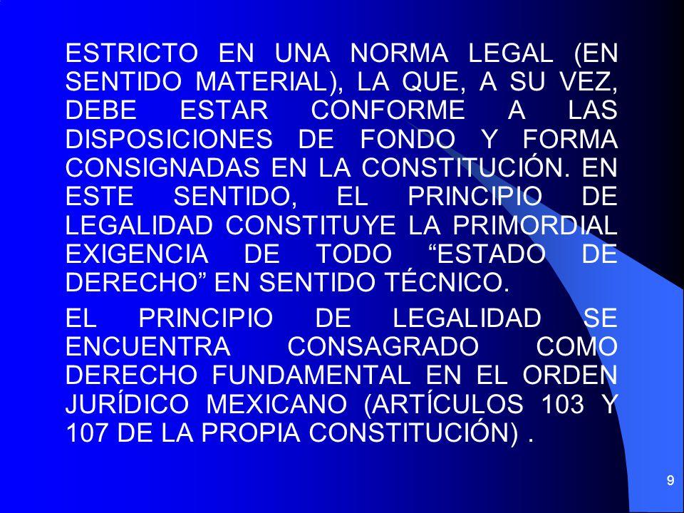 ESTRICTO EN UNA NORMA LEGAL (EN SENTIDO MATERIAL), LA QUE, A SU VEZ, DEBE ESTAR CONFORME A LAS DISPOSICIONES DE FONDO Y FORMA CONSIGNADAS EN LA CONSTI