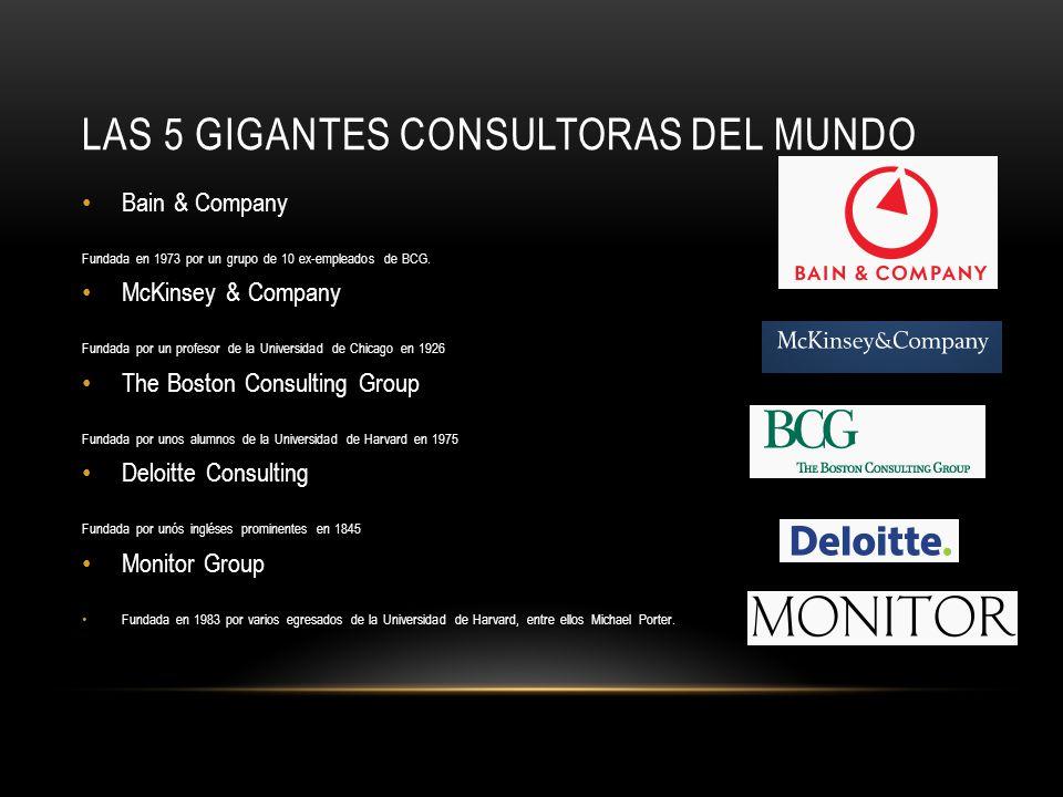 LAS 5 GIGANTES CONSULTORAS DEL MUNDO Bain & Company Fundada en 1973 por un grupo de 10 ex-empleados de BCG.