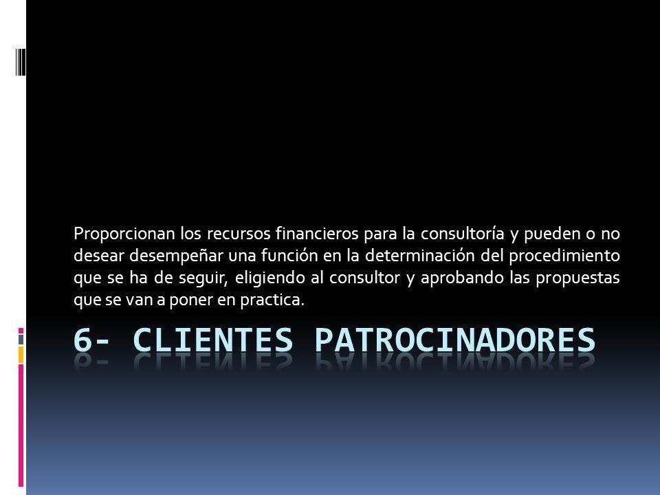 Proporcionan los recursos financieros para la consultoría y pueden o no desear desempeñar una función en la determinación del procedimiento que se ha
