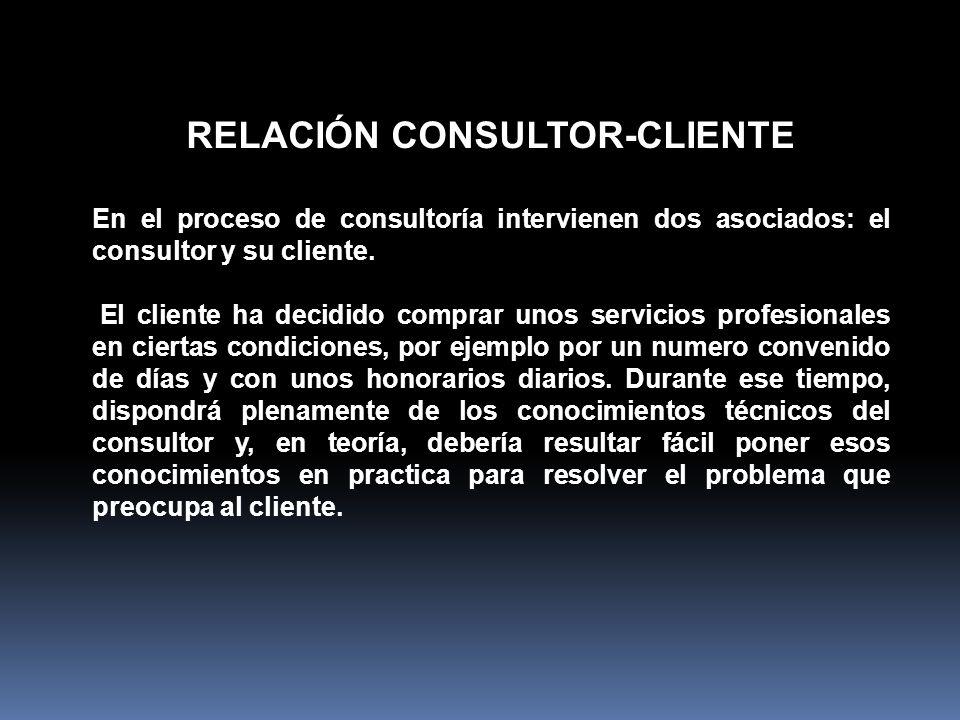 RELACIÓN CONSULTOR-CLIENTE En el proceso de consultoría intervienen dos asociados: el consultor y su cliente. El cliente ha decidido comprar unos serv