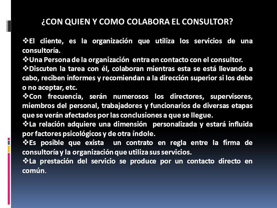¿CON QUIEN Y COMO COLABORA EL CONSULTOR? El cliente, es la organización que utiliza los servicios de una consultoría. Una Persona de la organización e