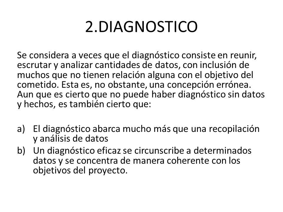 2.DIAGNOSTICO Se considera a veces que el diagnóstico consiste en reunir, escrutar y analizar cantidades de datos, con inclusión de muchos que no tien