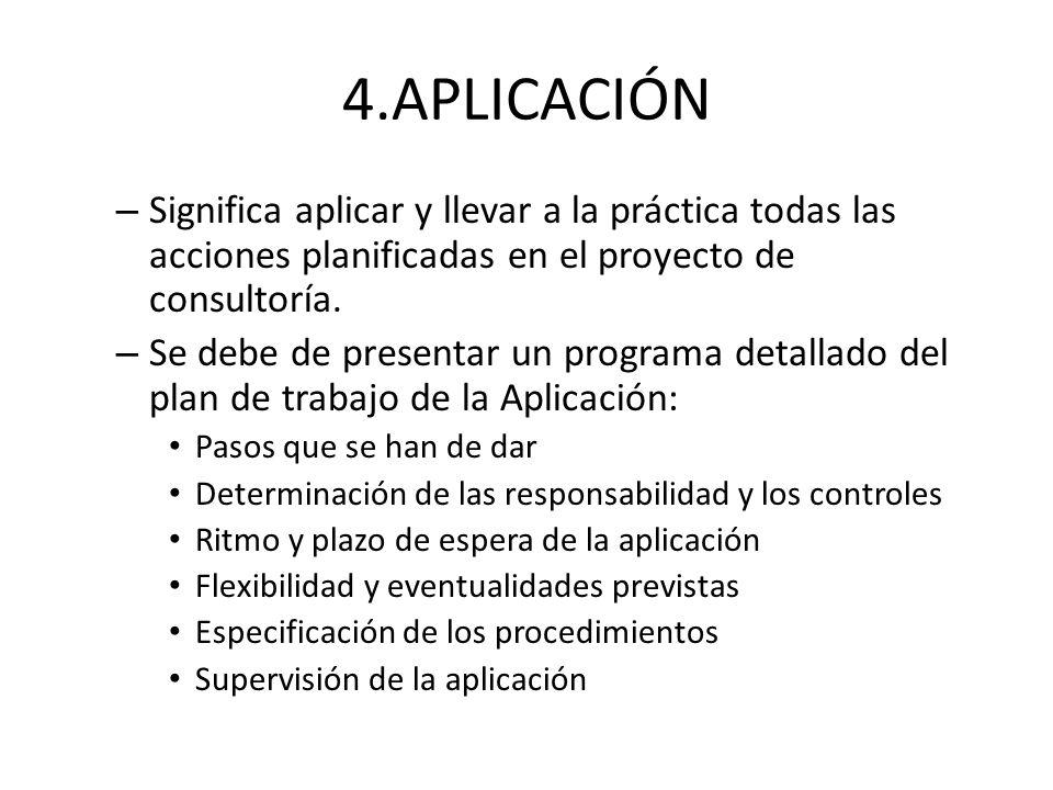 4.APLICACIÓN – Significa aplicar y llevar a la práctica todas las acciones planificadas en el proyecto de consultoría. – Se debe de presentar un progr