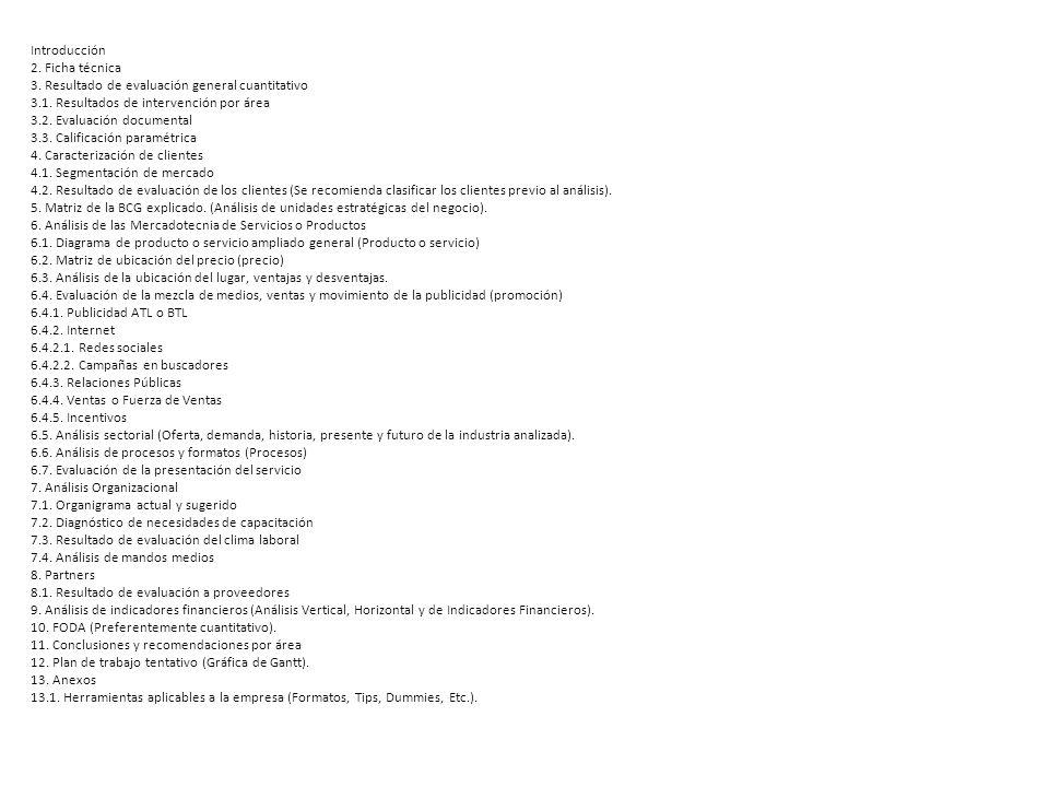 Introducción 2. Ficha técnica 3. Resultado de evaluación general cuantitativo 3.1. Resultados de intervención por área 3.2. Evaluación documental 3.3.