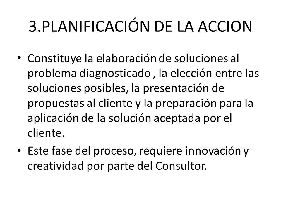 3.PLANIFICACIÓN DE LA ACCION Constituye la elaboración de soluciones al problema diagnosticado, la elección entre las soluciones posibles, la presenta