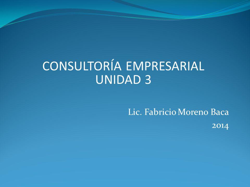 Lic. Fabricio Moreno Baca 2014 CONSULTORÍA EMPRESARIAL UNIDAD 3