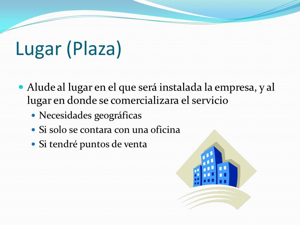 Lugar (Plaza) Alude al lugar en el que será instalada la empresa, y al lugar en donde se comercializara el servicio Necesidades geográficas Si solo se
