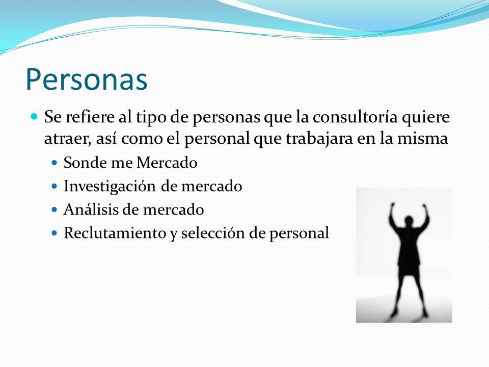 Personas Se refiere al tipo de personas que la consultoría quiere atraer, así como el personal que trabajara en la misma Sonde me Mercado Investigació