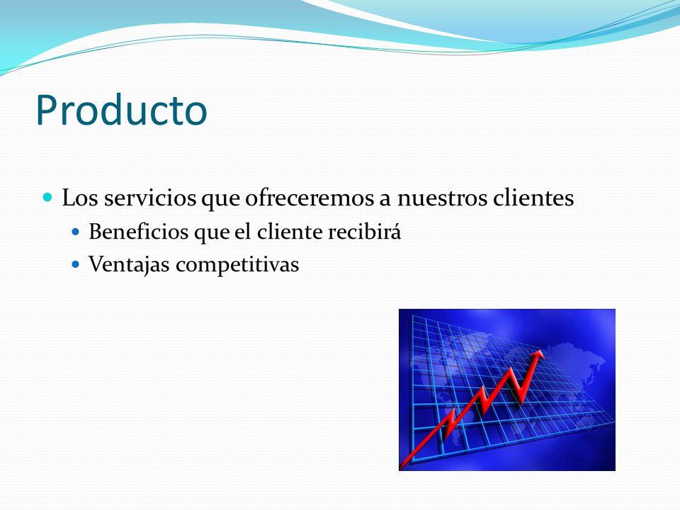 Producto Los servicios que ofreceremos a nuestros clientes Beneficios que el cliente recibirá Ventajas competitivas