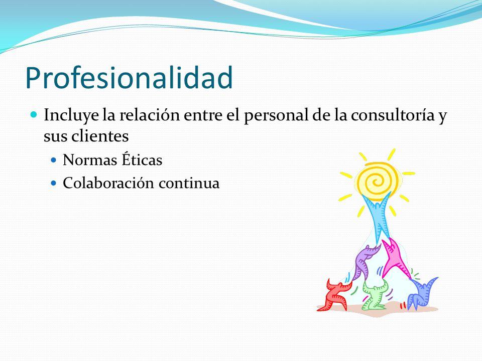 Profesionalidad Incluye la relación entre el personal de la consultoría y sus clientes Normas Éticas Colaboración continua