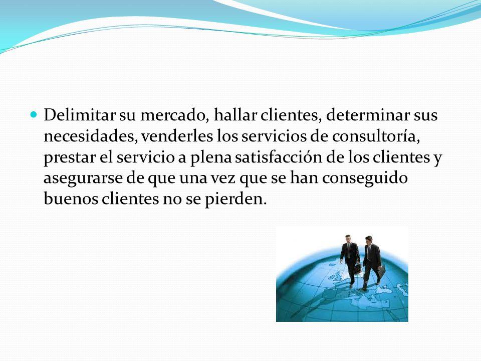 Delimitar su mercado, hallar clientes, determinar sus necesidades, venderles los servicios de consultoría, prestar el servicio a plena satisfacción de