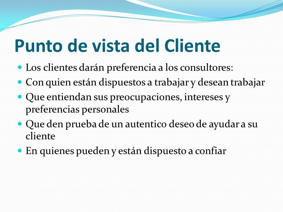 Punto de vista del Cliente Los clientes darán preferencia a los consultores: Con quien están dispuestos a trabajar y desean trabajar Que entiendan sus