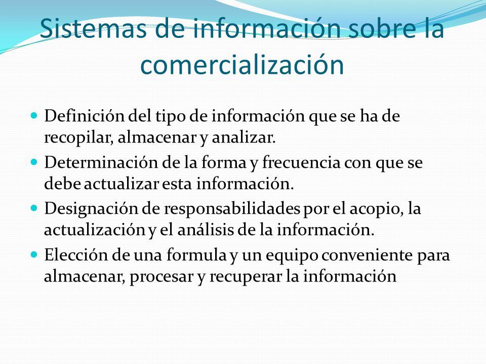 Sistemas de información sobre la comercialización Definición del tipo de información que se ha de recopilar, almacenar y analizar. Determinación de la