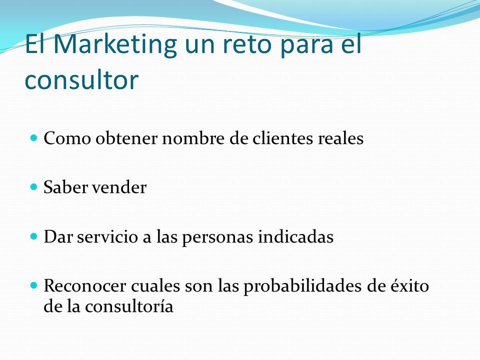 El Marketing un reto para el consultor Como obtener nombre de clientes reales Saber vender Dar servicio a las personas indicadas Reconocer cuales son