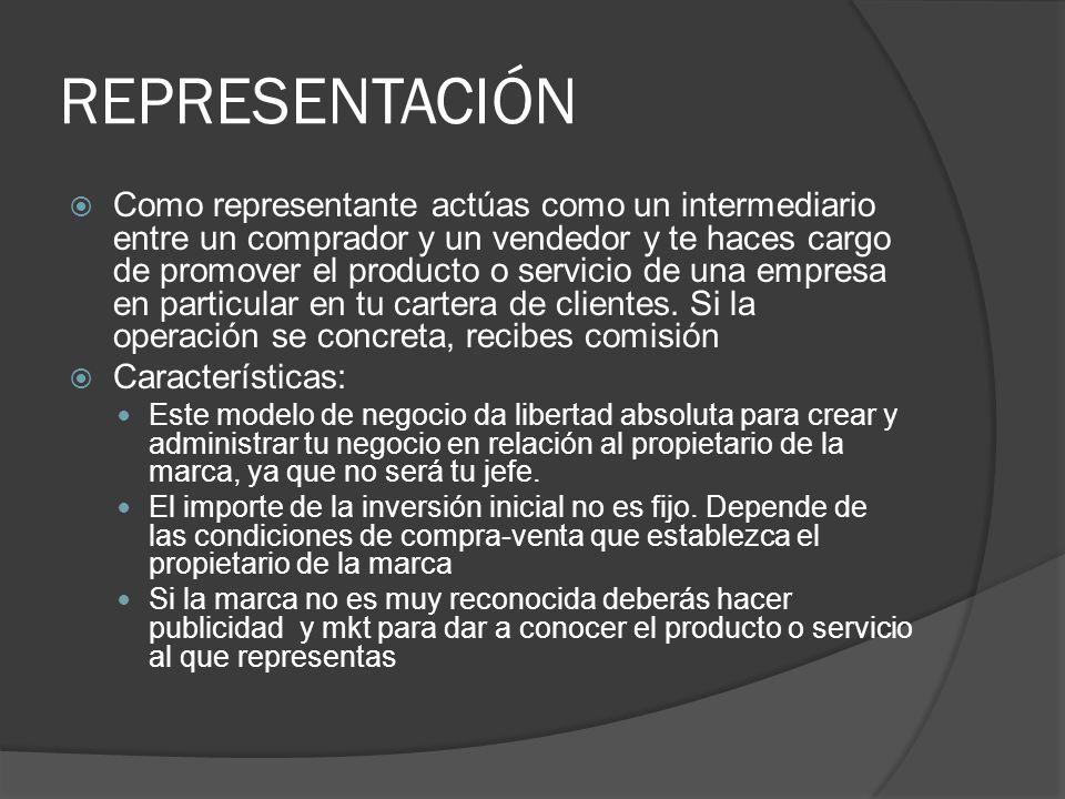 REPRESENTACIÓN Como representante actúas como un intermediario entre un comprador y un vendedor y te haces cargo de promover el producto o servicio de