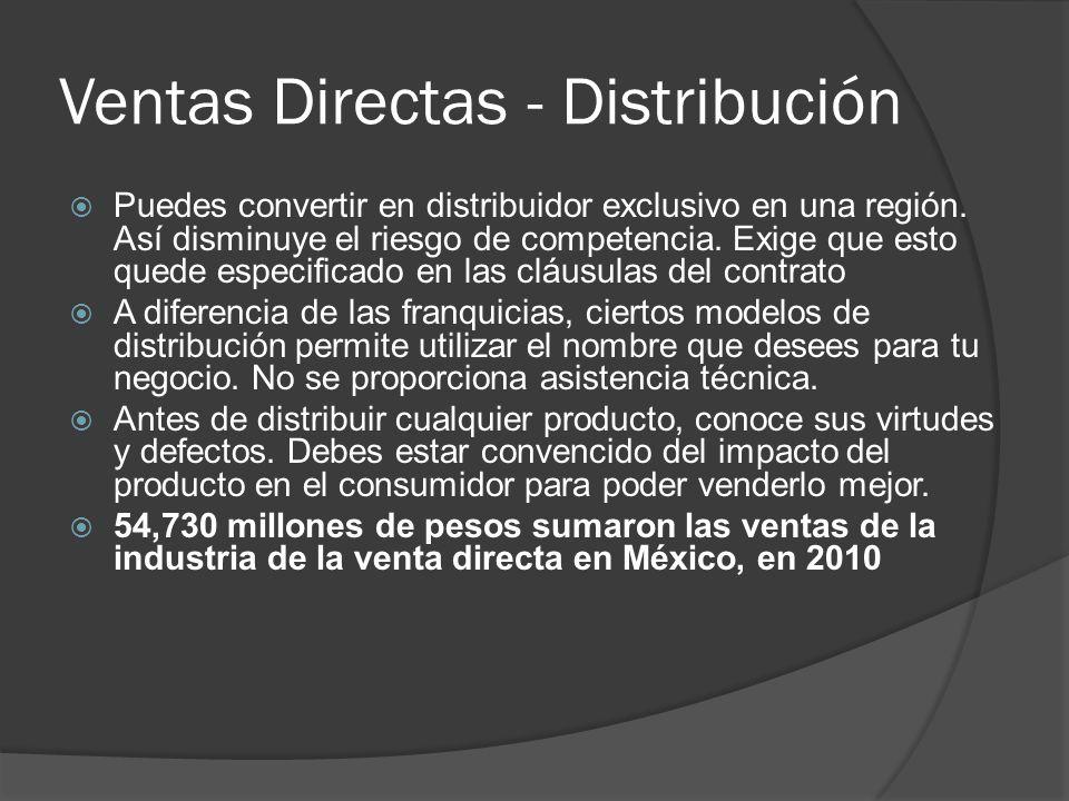 Ventas Directas - Distribución Puedes convertir en distribuidor exclusivo en una región. Así disminuye el riesgo de competencia. Exige que esto quede