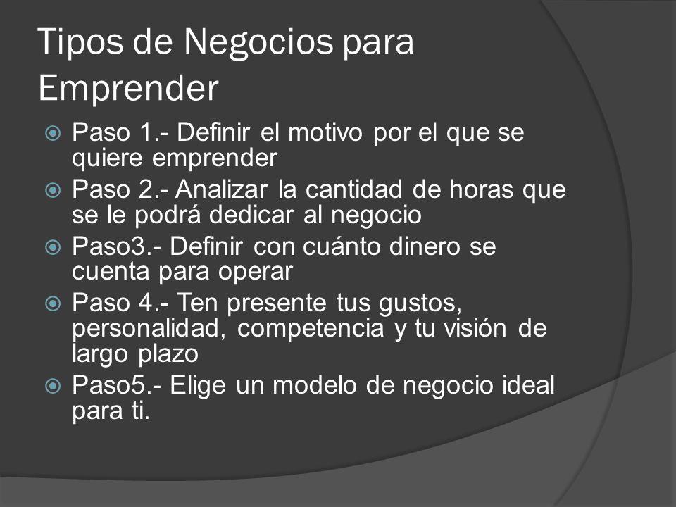 Tipos de Negocios para Emprender Paso 1.- Definir el motivo por el que se quiere emprender Paso 2.- Analizar la cantidad de horas que se le podrá dedi