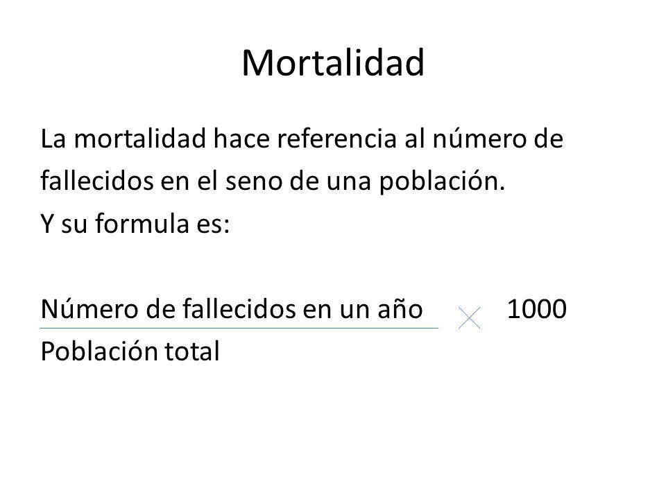 Mortalidad La mortalidad hace referencia al número de fallecidos en el seno de una población. Y su formula es: Número de fallecidos en un año 1000 Pob