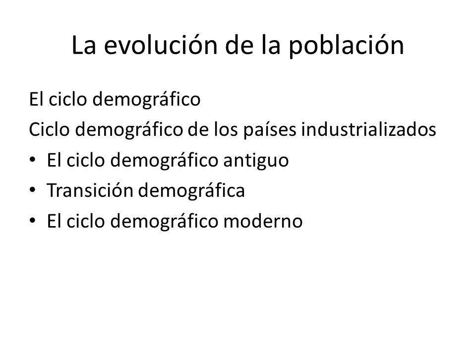 La evolución de la población El ciclo demográfico Ciclo demográfico de los países industrializados El ciclo demográfico antiguo Transición demográfica