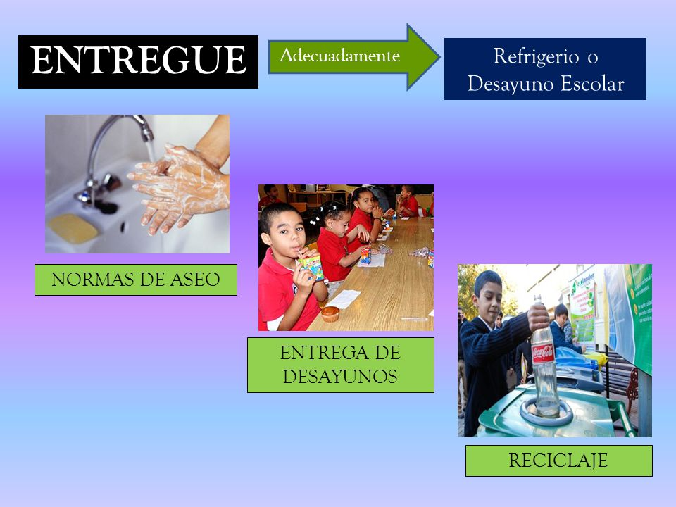 ENTREGUE Refrigerio o Desayuno Escolar Adecuadamente NORMAS DE ASEO ENTREGA DE DESAYUNOS RECICLAJE